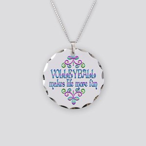 Volleyball Fun Necklace Circle Charm
