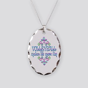 Volleyball Fun Necklace Oval Charm