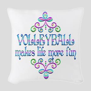 Volleyball Fun Woven Throw Pillow