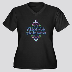 Volleyball F Women's Plus Size V-Neck Dark T-Shirt