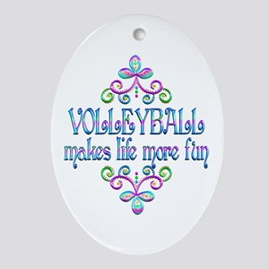 Volleyball Fun Oval Ornament