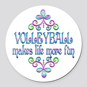 Volleyball Fun Round Car Magnet