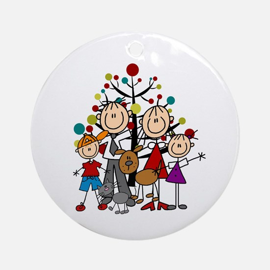 Christmas Stick Figures Family Cat Round Ornament