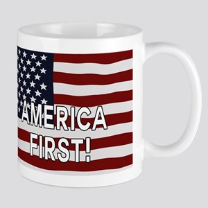 AMERICA FIRST! USA flag Mugs
