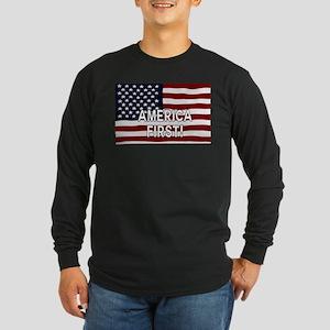AMERICA FIRST! USA flag Long Sleeve T-Shirt