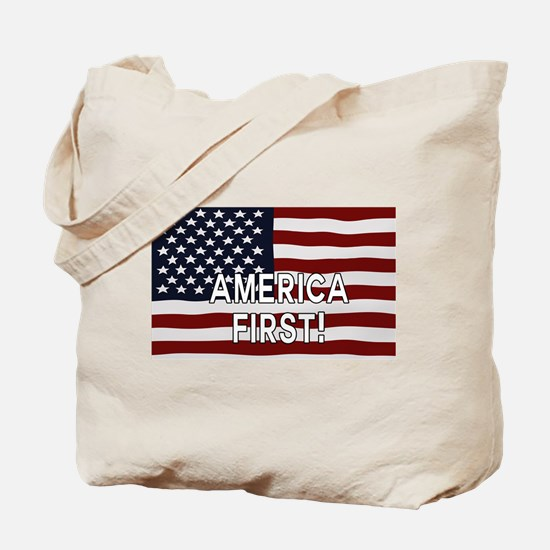 AMERICA FIRST! USA flag Tote Bag