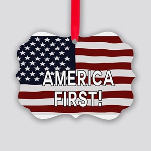 AMERICA FIRST! USA flag Picture Ornament