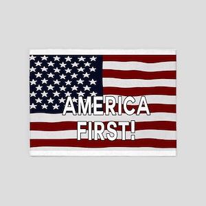 AMERICA FIRST! USA flag 5'x7'Area Rug