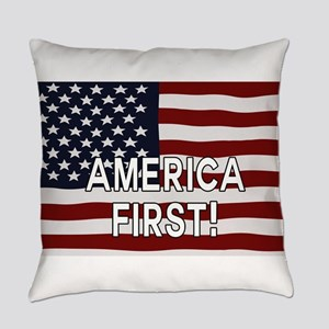 AMERICA FIRST! USA flag Everyday Pillow