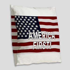 AMERICA FIRST! USA flag Burlap Throw Pillow