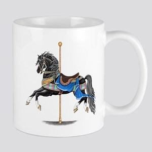 Black Carousel Horse Mugs