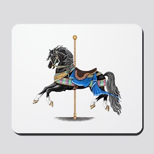 Black Carousel Horse Mousepad