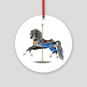 Black Carousel Horse Round Ornament