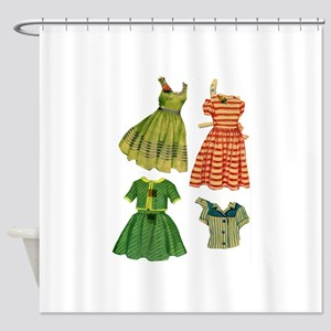 Vintage woman fashion dresses Shower Curtain
