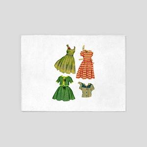 Vintage woman fashion dresses 5'x7'Area Rug