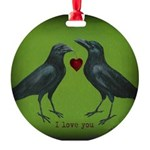 Two Crows Round Ornament