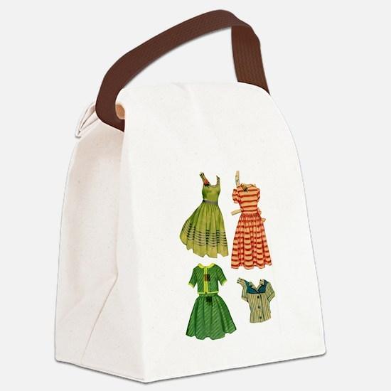 Vintage woman fashion dresses Canvas Lunch Bag