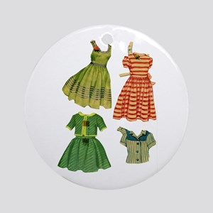 Vintage Woman Fashion Dresses Round Ornament