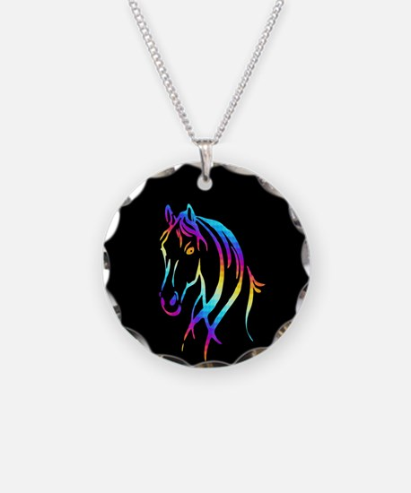 Colorful Horse Necklace Circle Charm