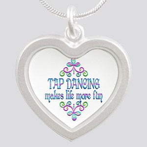 Tap Dancing Fun Silver Heart Necklace