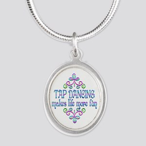 Tap Dancing Fun Silver Oval Necklace