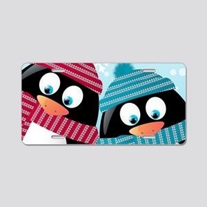 Christmas Penguins Aluminum License Plate