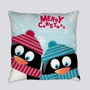 Christmas Penguins Everyday Pillow