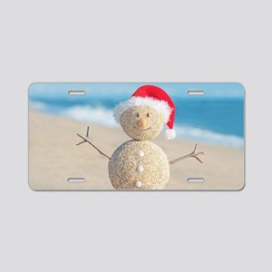 Beach Snowman Aluminum License Plate
