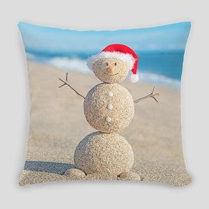 Beach Snowman Everyday Pillow