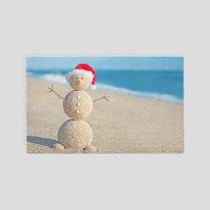 Beach Snowman Area Rug