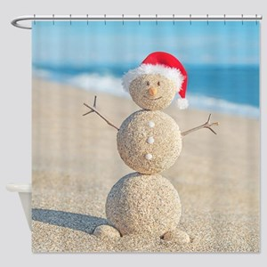 Beach Snowman Shower Curtain