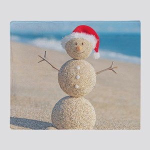 Beach Snowman Throw Blanket