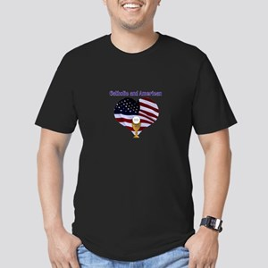 Catholic AND American Men's Fitted T-Shirt (dark)