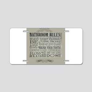 bathroom rules Aluminum License Plate