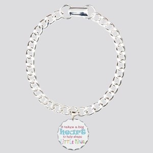 big heart: teacher, Charm Bracelet, One Charm