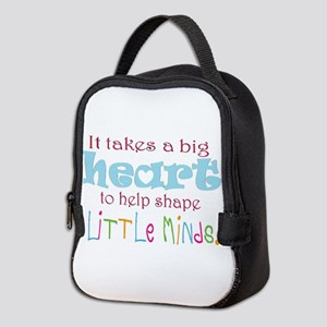 big heart: teacher, Neoprene Lunch Bag
