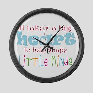 big heart: teacher, Large Wall Clock