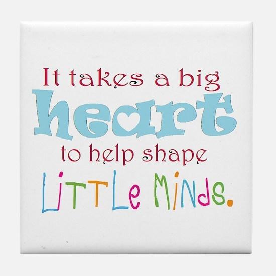 big heart: teacher, Tile Coaster