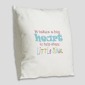 big heart: teacher, Burlap Throw Pillow