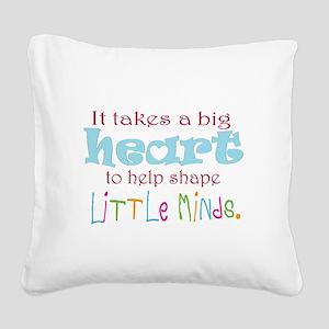 big heart: teacher, Square Canvas Pillow