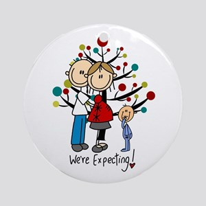 Stick Figure Expectant Couple W. Round Ornament