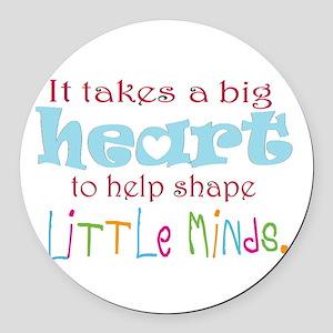 big heart: teacher, Round Car Magnet