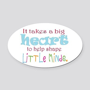 big heart: teacher, Oval Car Magnet