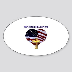 Christian AND American Sticker (Oval)
