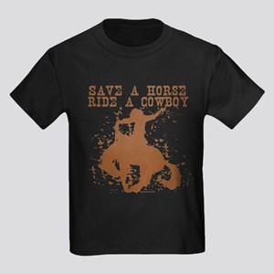 Save a horse, ride a cowboy. Kids Dark T-Shirt