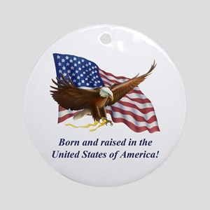Born Raised In USA! Eagle Ornament (Round)