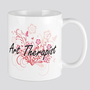 Art Therapist Artistic Job Design with Flower Mugs