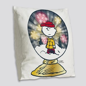 Charlie Brown - Snow Globe Burlap Throw Pillow