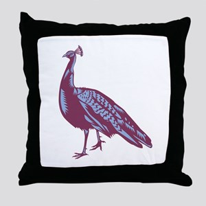 Male Indian Peacock Woodcut Throw Pillow