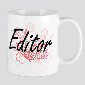 Editor Artistic Job Design with Flowers Mugs